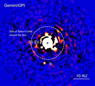 Discovery image of the exoplanet 51 Eridani b taken in the near-infrared light with the Gemini Planet Imager on Dec. 21, 2014. T